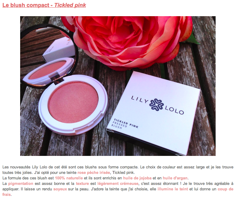 Lily Lolo - maquillage minéral - Blush Minéral Compact Tickeld Pink