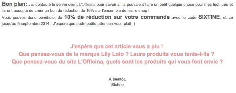 Revue de la commande à l'Officina, magasin en ligne de cosmétiques naturels & bio, e-shop