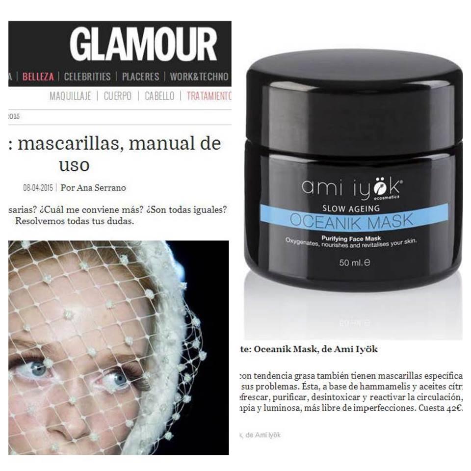Glamour Espagne recommande l'Oceanic Mask Ami Iyök pour purifier les peaux grasses!