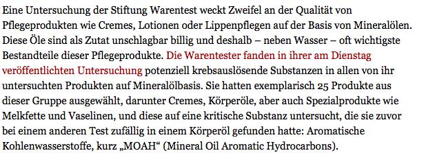 L'institut de contrôle allemand Stiftung Warentest met en garde sur l'huile minérale dans les cosmétiques