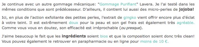 Le Gommage Purifiant bio de Lavera testé par Cherry Blogssom