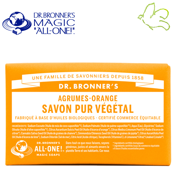 Dr. Bronner's Magic Soaps - Pain de Savon Pur Végétal Agrumes Orange