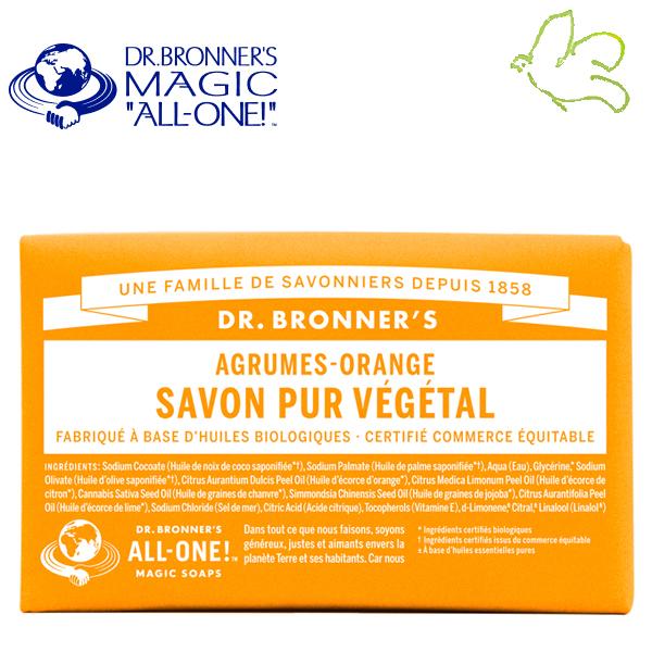 Dr. Bronner's Magic Soaps - Pain de Savon Pur Végétal Agrumes Orange
