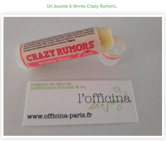 Baume à Lèvres Naturel Bubble Gum CRAZY RUMORS