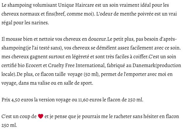 UNIQUE Haircare - shampooing bio du Danemark certifié Ecocert