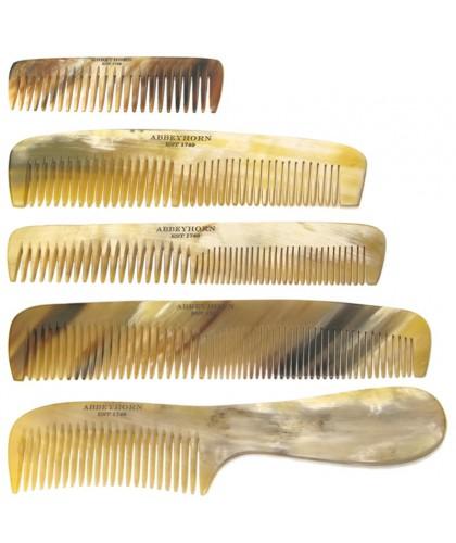 ABBEYHORN Kleiner Hornkamm, breite und enge Zahnung Lederetui (13 cm)