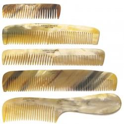 Peignes en corne naturelle Abbeyhorn faits main en Angleterre cheveux et barbe
