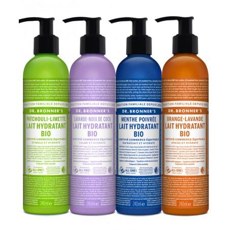 Dr. Bronner's - Lait Hydratant végétal parfum végétal naturel cosmétique recyclable flacon pompe lotion corps