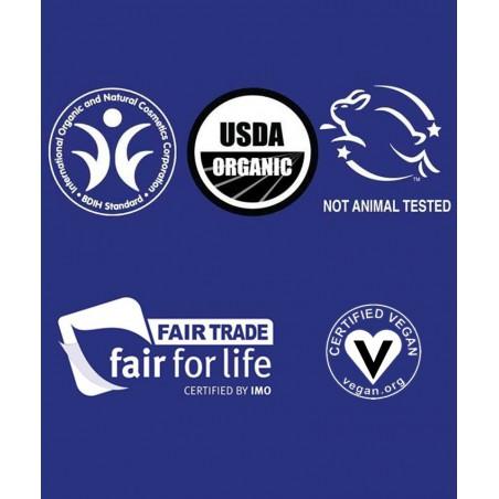 Dr. Bronner's certifications cosmétique bio, vegan fairtrade cruelty free