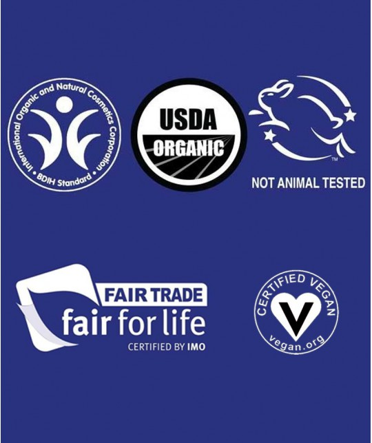 Dr. Bronner's certifications et labels vegan fair-trade équitable green recyclable BIDH cruelty free Made in USA cosmétique