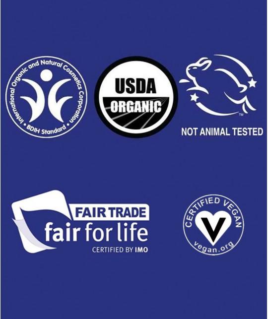 Dr. Bronner's Savon bio pur végétal certifications vegan fair trade BIDH pas de test sur des animaux