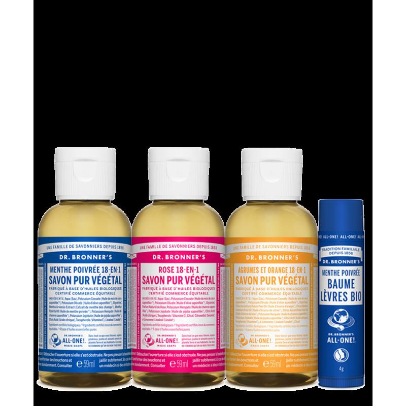 Dr. Bronner's Magic Soaps - Kit Découverte 3 mini Savons Liquides  & Baume Lèvres bio