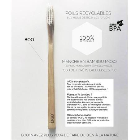 My BOO Company - Brosse à Dents écologique en Bambou poils nylon sans BPA 100% recylable France FSC certifié