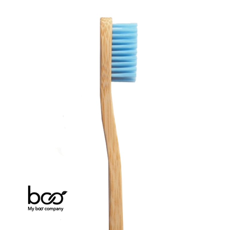 My Boo Company - Brosse à Dents bambou recyclable naturel compostable bleu souple poils nylon sans BPA