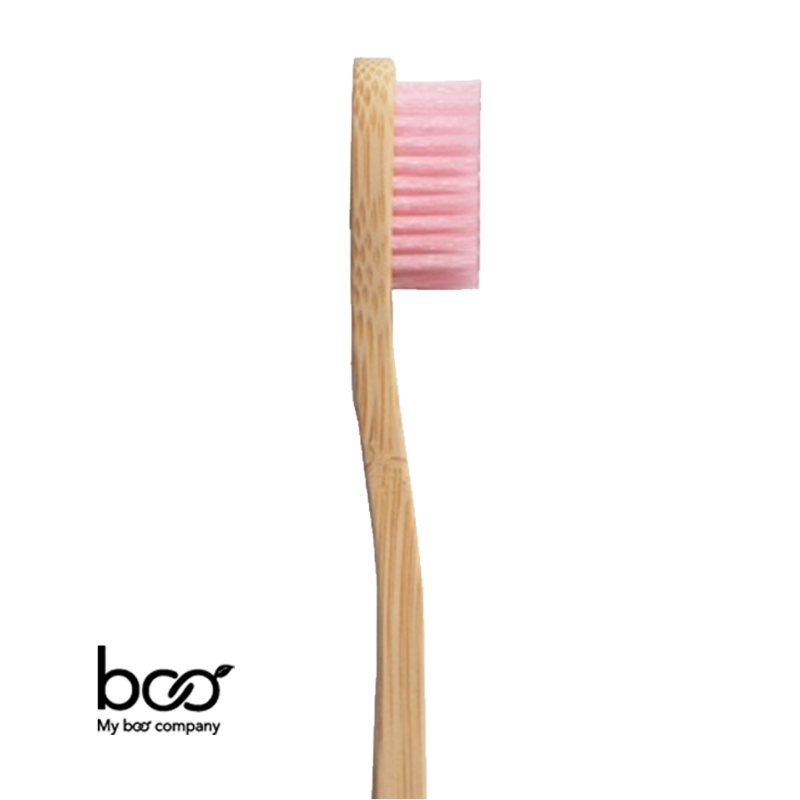 My Boo Company - Brosse à Dents bambou recyclable naturel compostable rose souple poils nylon