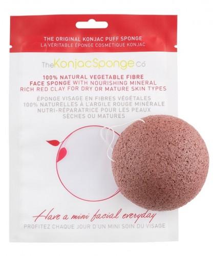 Eponge Konjac végétale Konjac Sponge Co - visage Argile Rouge peau sèche cosmétique naturel vegan