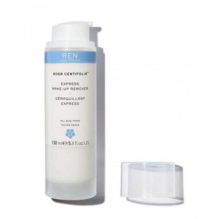 REN clean Skincare Rosa Centifolia Démaquillant Express lait flacon pompe waterproof peau sensible