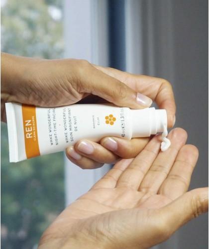 REN Wake Wonderful Night-Time Facial clean skincare vegan swatch