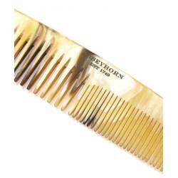 Abbeyhorn Petit Peigne en corne naturelle à double denture avec étui cuir Fait main Finition soignée objet unique poli main