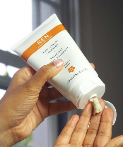 REN Micro Polish Cleanser clean skincare swatch