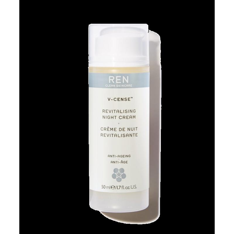 REN clean skincare - V-Cense Crème de Nuit Revitalisante flacon pompe encens teint terne