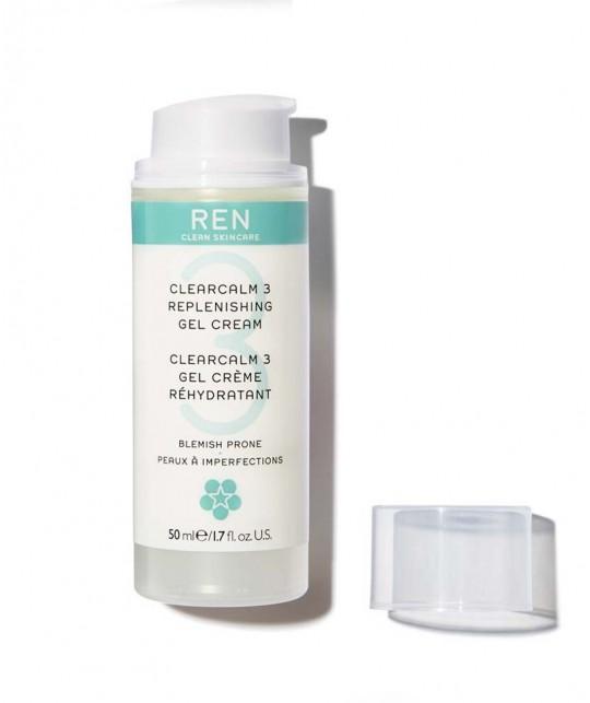 REN clean skincare - ClearCalm Gel Crème peau acnéique imperfections boutons rougeurs hydratant apaise flacon pompe