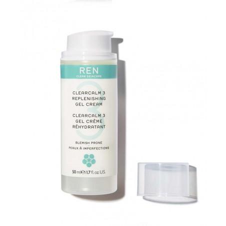 REN clean skincare - ClearCalm Gel Crème soin peau acnéique imperfections boutons rougeurs hydratant apaise flacon pompe
