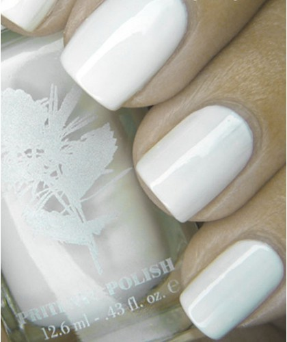 Priti NYC Vernis naturel Green 110 White Ballet Dahlia Blanc Vegan swatch