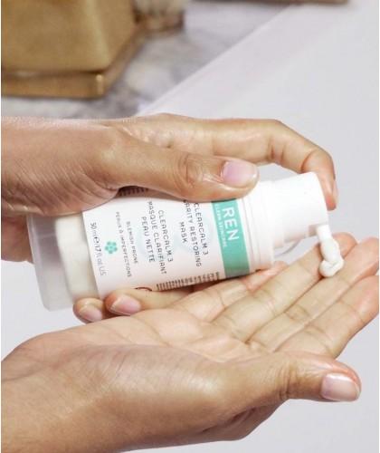 REN clean skincare Masque clarifiant Peau Nette Clearcalm imperfections acné végétal cosmétique teint bio naturel flacon pompe