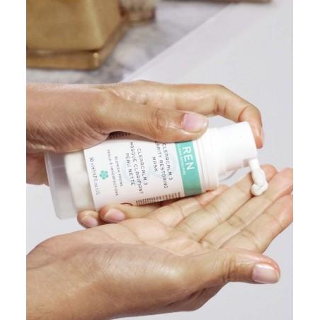 REN soin visage naturel Masque  clarifiant Peau Nette imperfections acné végétal cosmétique teint bio naturel flacon pompe