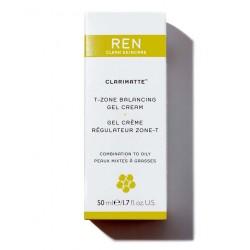 REN Clarimatte Gel Crème Régulateur Zone-T flacon pompe matifiant cosmétique visage naturel konjac