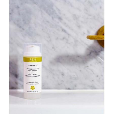 REN soin visage naturel Clarimatte Gel Crème de jour matifiant Zone-T fluide peau mixte konjac