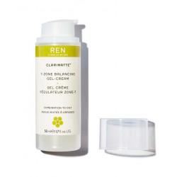 REN Clarinette Gel Crème Régulateur Zone-T flacon pompe peau grasse soin visage matifiant hydratant