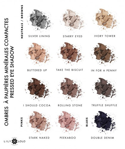 LILY LOLO - Pressed Eye Shadow swatch natural colors shades green mineral cosmetics beauty