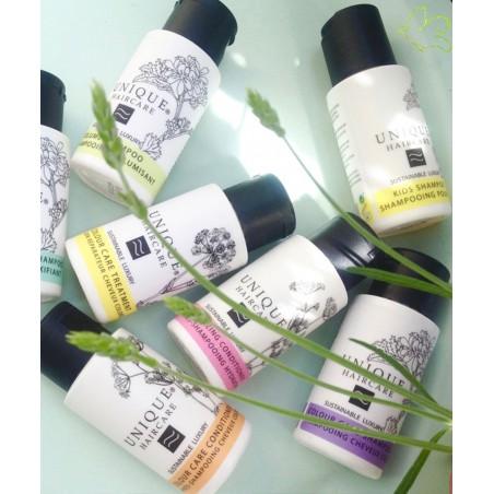 Unique Haircare - Shampooing bio mini flacon voyage végétal cheveux soin beauté brillant santé  naturel