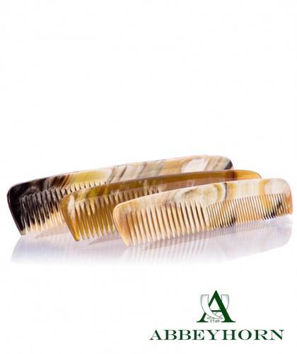 ABBEYHORN Horn Comb double tooth Leather Case 16,8 cm