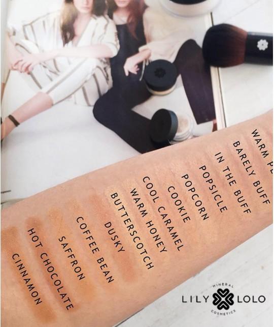 Lily Lolo Fond de Teint choisir teinte couleur nuance poudre maquillage minéral - libre swatch 18 couleurs sur peau