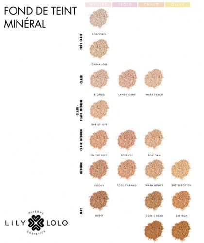 Lily Lolo maquillage minéral - Fond de Teint SPF 15 poudre libre collection 18 teintes