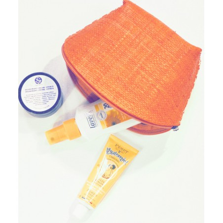 L'Officina Enjoy - Trousse Beauté en paille tressée (orange)