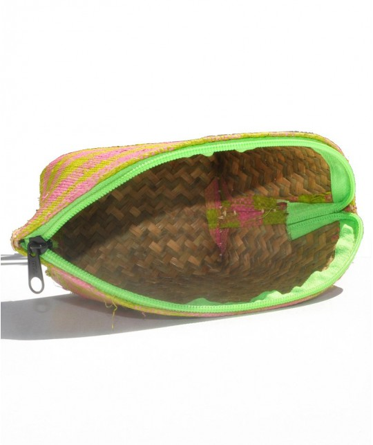 l'Officina Paris Straw Pouch green & pink