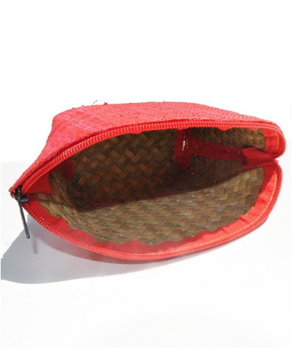 L'Officina Enjoy - Trousse Beauté en raphia tressé (rouge corail)