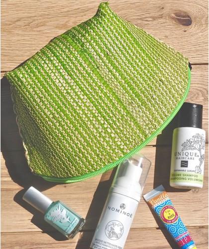 l'Officina Paris Straw Pouch green & beige