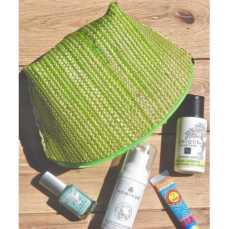 L'Officina Enjoy - Trousse Beauté en paille tressée (vert & beige)