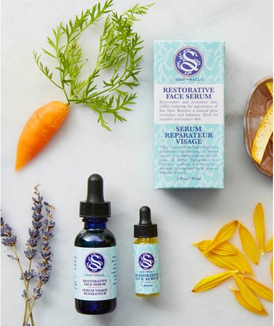 Organic Restorative Face Serum  Soapwalla Kitchen Vegan Ingredients Skin Oil