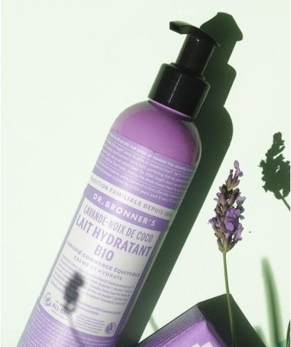 Dr. Bronner's Lotion corps bio Lavande Coco végétal naturel  mains crème cosmétique soin peau sèche