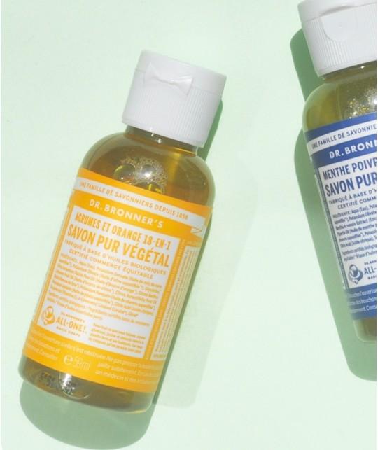Dr. Bronner's - Savon Liquide Pur végétal bio Orange Citrus mini voyage