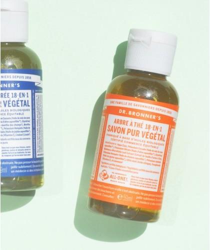 Dr. Bronner's - Tea Tree Savon Liquide bio Pur Végétal Arbre à Thé mini voyage anti-bactérien acne gel douche