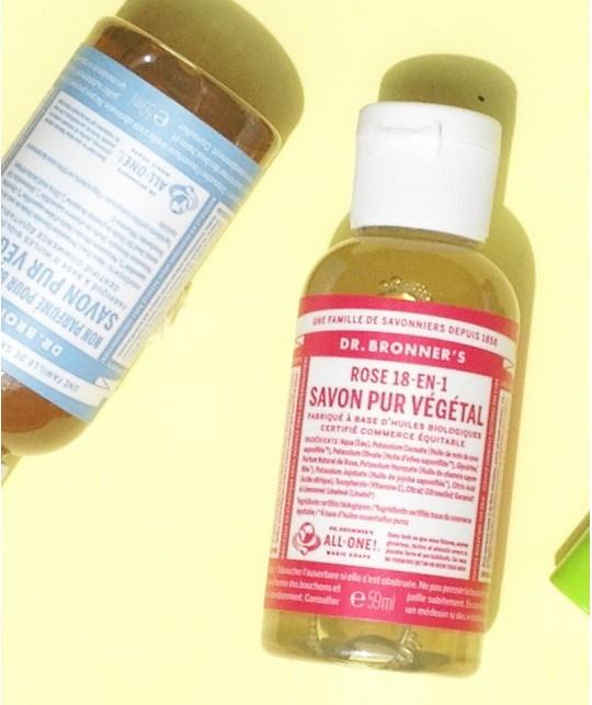Dr. Bronner's - Savon Liquide bio Pur Végétal Rose flacon mini voyage multi usage
