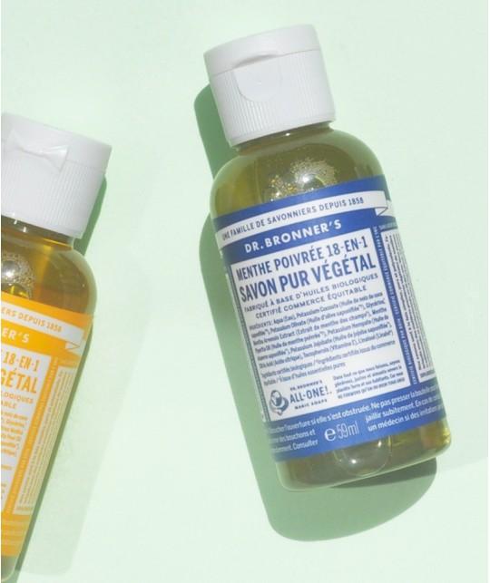 Dr. Bronner's - Savon Liquide bio Pur Végétal Menthe Poivrée flacon mini camping randonnée voyage doux naturel