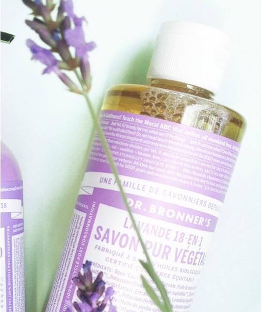 Dr. Bronner's Savon bio Lavande Pur Végétal 18en1 anti-bactérien douche mains hygiène lavage peau sensible